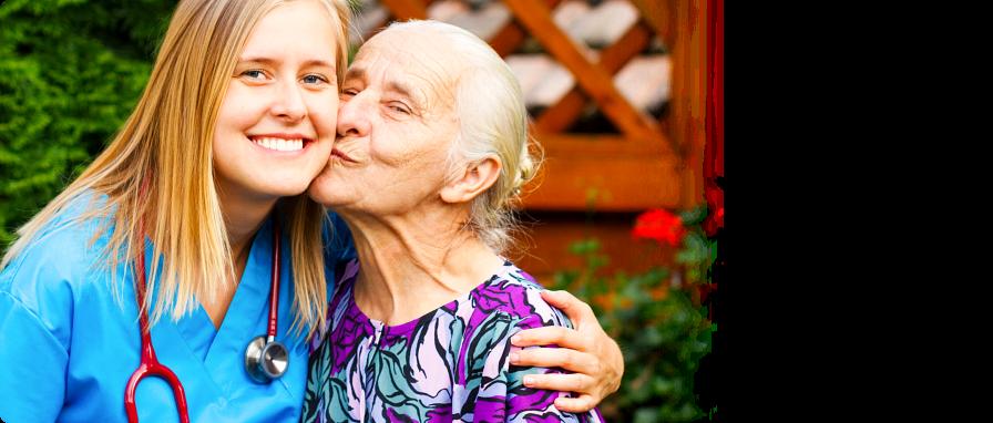 granny kissing her caretaker