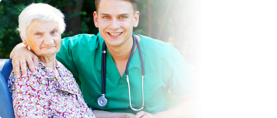 skilled nurse with his patient